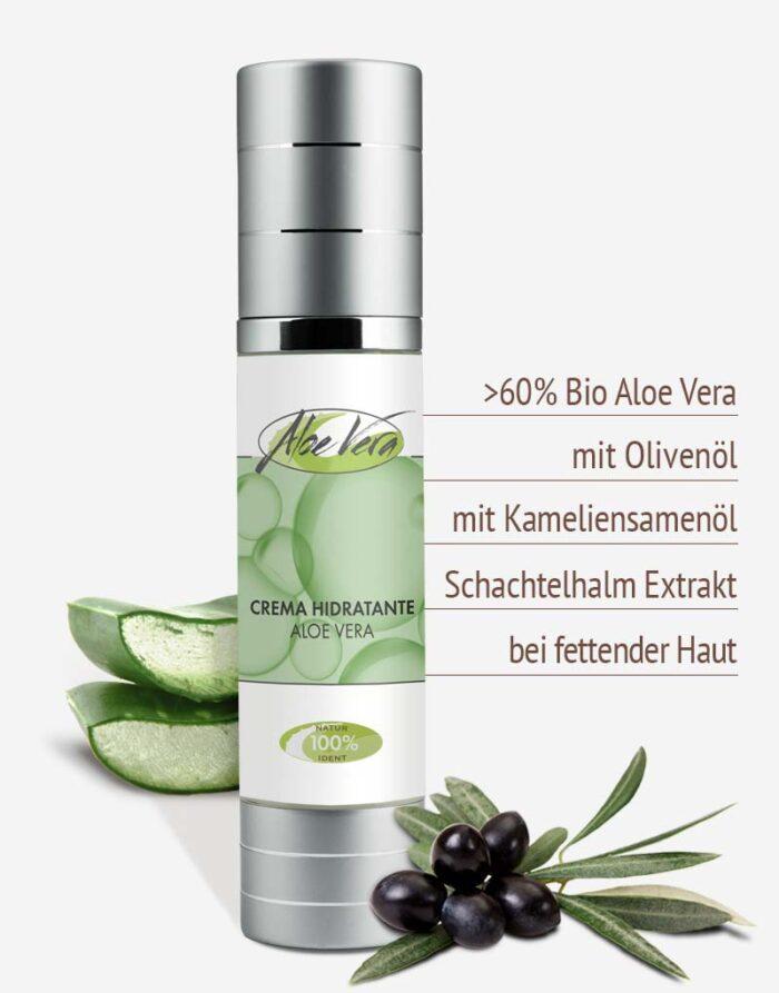Bio Aloe vera Feuchtigkeitscreme in Premium-Qualität