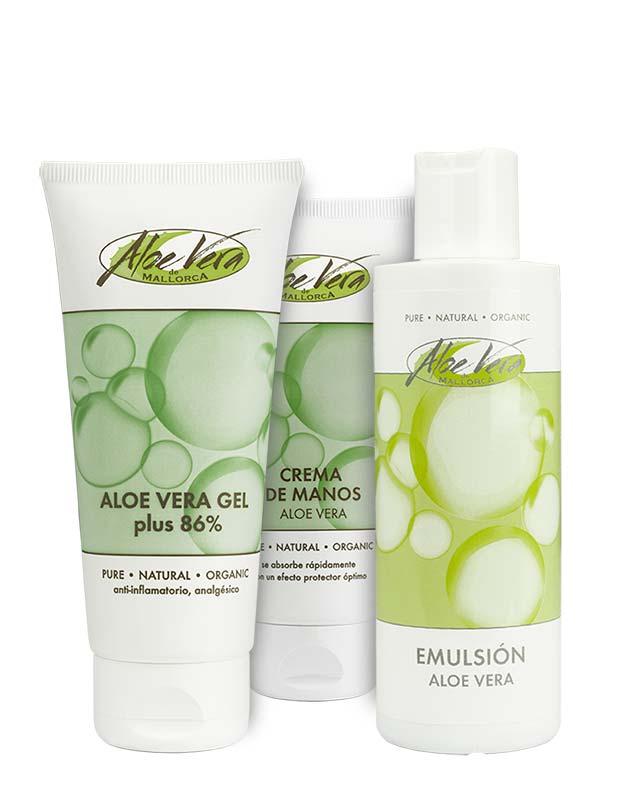 Aloe vera Repair Set mit Emulsion, Handcreme und Gel 86 %