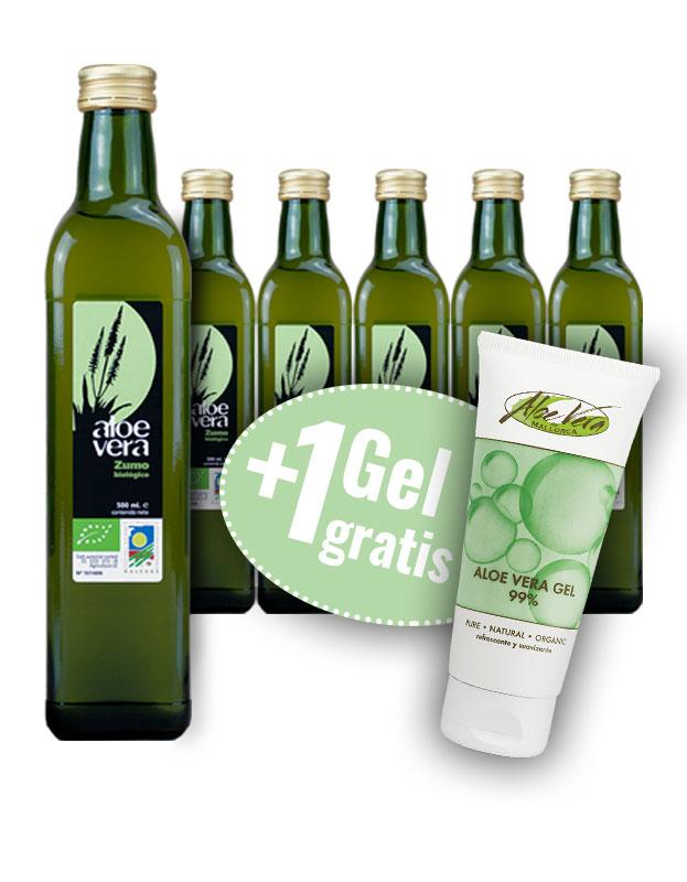 6 Flaschen Aloe Vera Saft + 1 Gel 99% gratis