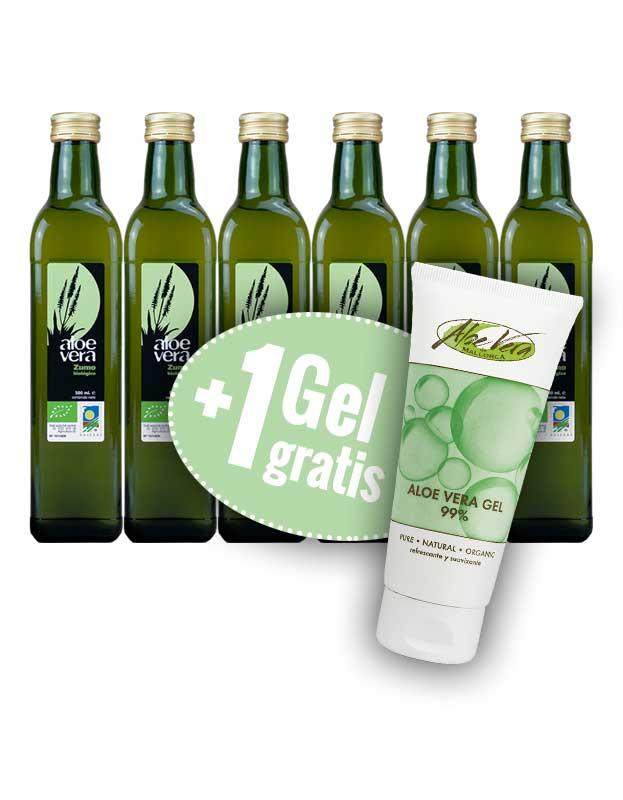 6 x Aloe Vera Saft + 1 Gel GRATIS