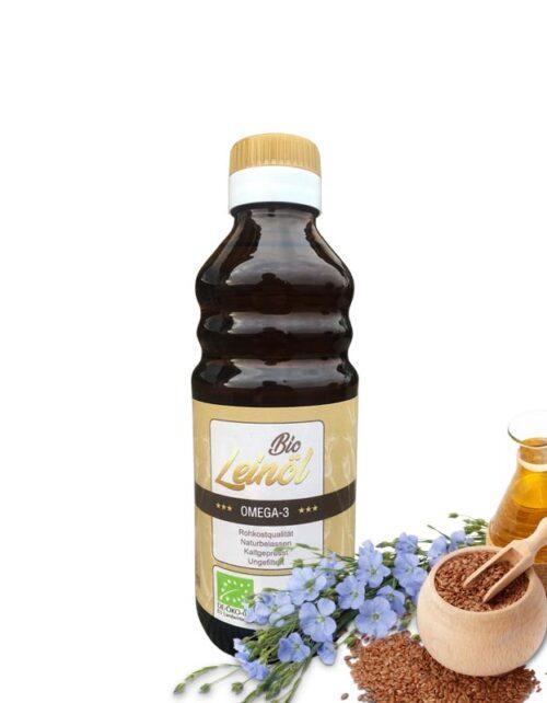 Bio Leinöl kaltgepresst mit Leinsamen