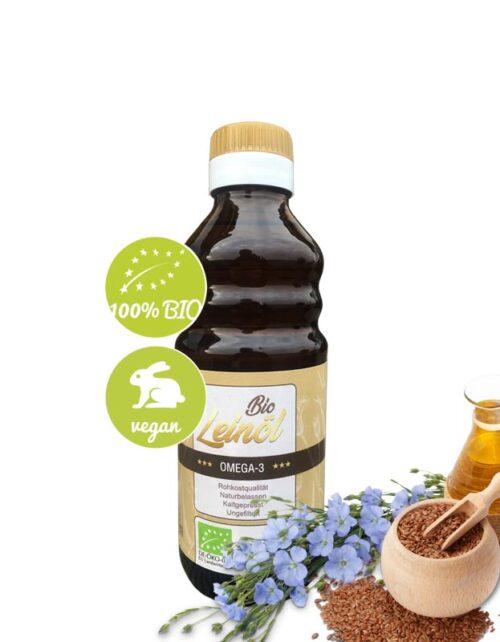 Bio Leinöl kaltgepresst mit Leinsamen vegan