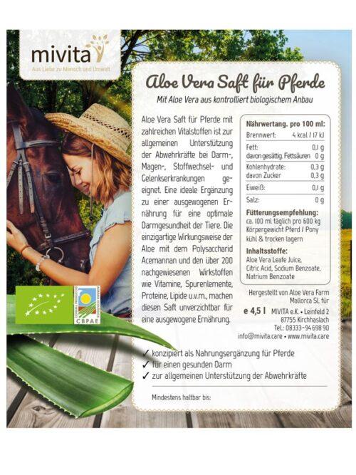 Etikett Aloe Vera Saft für Pferde